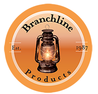 "Branchline Product's logo. An orange circle encloing the words, ""Branchline Products Est. 1987"